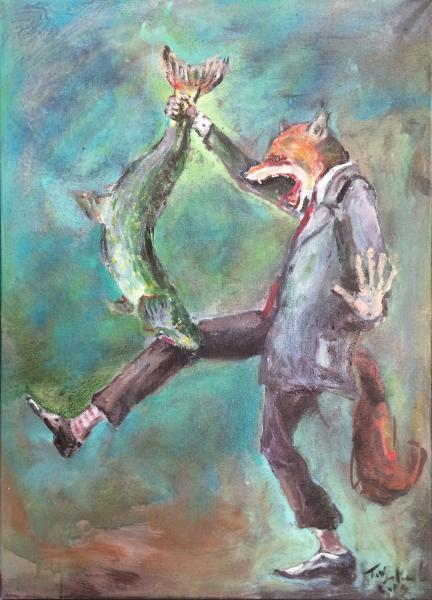 Obraz Tóth Kristóf - Jak lišách chytnul štiku