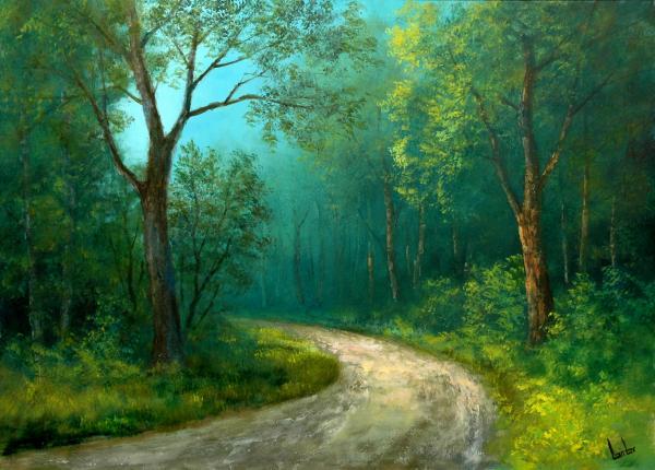 Obraz Lantos György - Poza stromů svítá