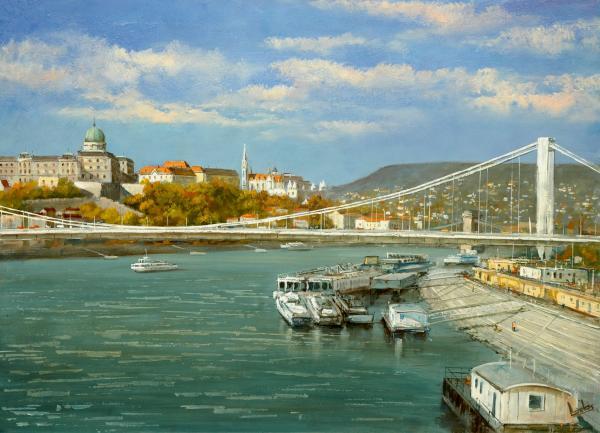 Obraz Lantos György - Přístav na Dunaji