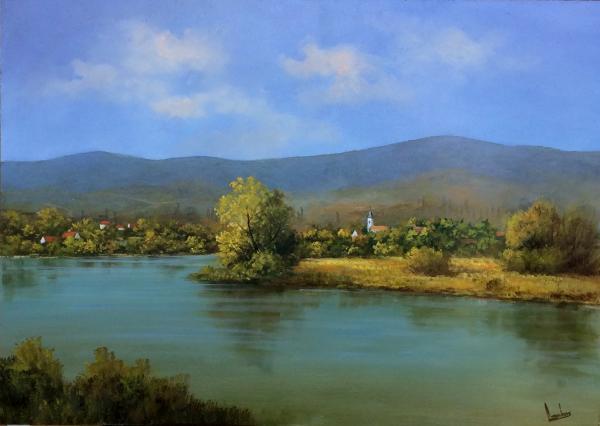 Obraz Lantos György - Vesnička za řekou